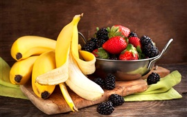 Preview wallpaper Banana and berries, blackberries, strawberries, fruit