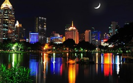 Bangkok, Thailand, city night, buildings, houses, lights, lake, night