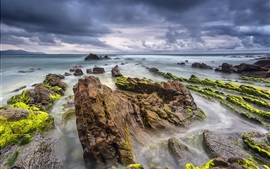 Preview wallpaper Barrika, Spain, sea, rocks, clouds, summer