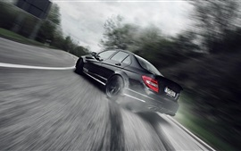 Preview wallpaper Black car rear view, speed, road