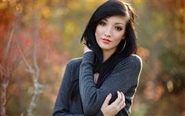 壁紙のプレビュー 黒髪の女の子、自然、ボケ