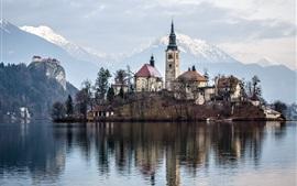 Aperçu fond d'écran Lac Bled, Slovénie, île, église, eau
