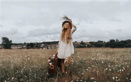 Preview wallpaper Blonde girl, hat, suitcase, wildflowers