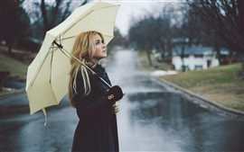 Preview wallpaper Blonde girl, rain, umbrella, street