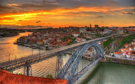 Preview wallpaper Bridge Louis, Portugal, river, dusk, city, clouds, sunset