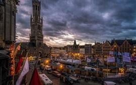 Bruges, Belgium, city, market, houses, dusk, lights, clouds