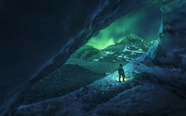 Canada, Athabasca, cave, snowy, winter, men, night, northern light