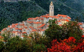 Castel Vittorio, Italy, Liguria, mountains, houses, tower, top view