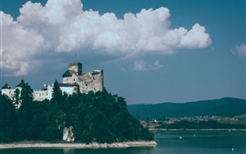 Preview wallpaper Castle, sea, clouds