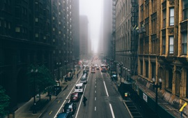 Chicago, Illinois, skyscrapers, fog, city, morning, road, cars, USA