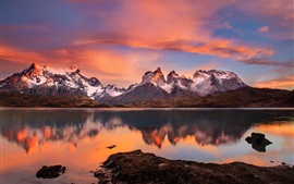 Preview wallpaper Chile, Patagonia, Andes mountains, lake, sunset