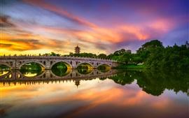 Chinês, jardim, lago, ponte, água, Reflexão, Nuvens, pôr do sol, Cingapura