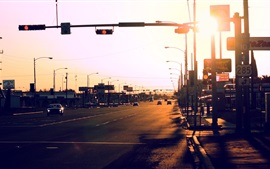 City, road, cars, traffic, sunlight