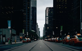 City, skyscrapers, road, taxi cars, dusk