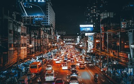 City, traffic, cars, lights, night, street, art style