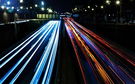 Preview wallpaper City traffic, colorful lights, night