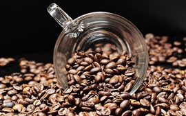Café em grão, copo de vidro