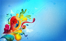 Preview wallpaper Colorful drops, blue background, creative abstract