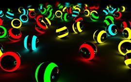 다채로운 빛 공, 검은 배경
