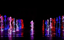 Preview wallpaper Colorful light, water liquid splash, fountain, night