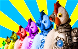 Preview wallpaper Colorful robot chicken