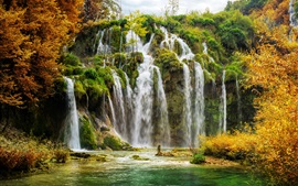 Preview wallpaper Croatia, Plitvice National Park, waterfalls, trees, autumn