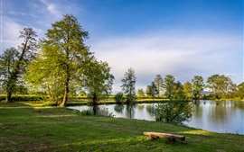 Croatia, Zagreb, trees, lake, grass, blue sky