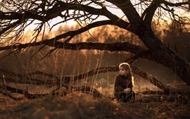 Preview wallpaper Cute little girl sit on ground, nature, trees, sunshine