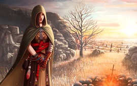 Preview wallpaper Dark Souls 2, girl, cloak, art picture