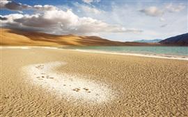 Deserto, areia, lago