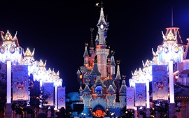 Preview wallpaper Disneyland beautiful night view, castle, lights
