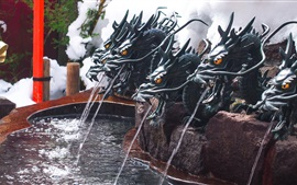 Dragons statue, fountain, water