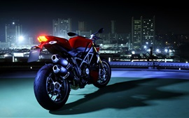 Preview wallpaper Ducati motorcycle, rear view, night, city