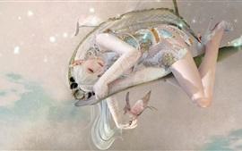 Фантазия девушка, эльф, полет, птица