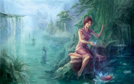 Preview wallpaper Fantasy girl, magic, trees, pond, lotus, baby