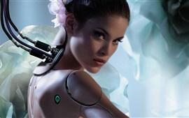 Aperçu fond d'écran Fantaisie fille, robot