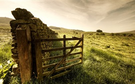 Preview wallpaper Fence, gate, grass, stones, farm