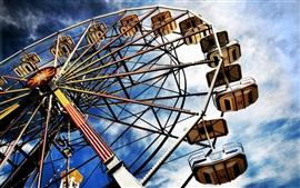 Ferris, roda, diversão, Nuvens, céu
