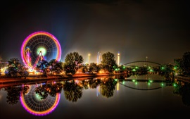 Preview wallpaper Ferris wheel, river, bridge, city, night, lights