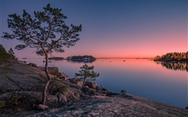 Preview wallpaper Finland, Gulf of Finland, island, trees, sea, sunset