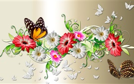 Preview wallpaper Flowers and butterfly, creative design