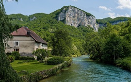 France, house, trees, greens, mountains, river