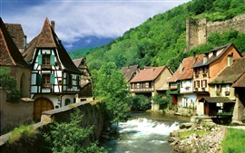 France, river, houses, trees, stones, summer