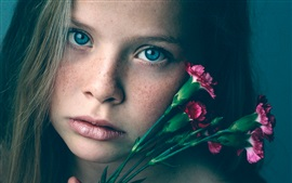Preview wallpaper Freckles girl, face, purple carnations