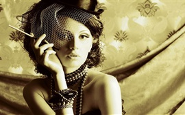 Preview wallpaper Girl, hat, cigarette, retro