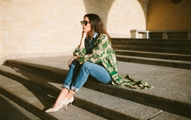 Preview wallpaper Girl sitting on steps, sunglasses