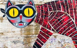 Preview wallpaper Graffiti, wall, cat, creative