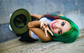 Green hair, blue eyes girl, happy