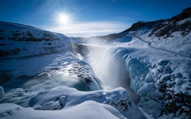 Preview wallpaper Gullfoss falls, waterfall, thick snow, sunshine, winter, Iceland