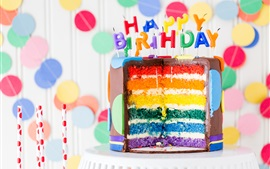 Preview wallpaper Happy Birthday, chocolate cake, candles, colorful layers